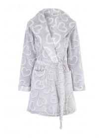 Womens Grey Heart Dressing Gown