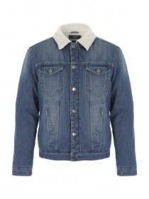 Mens Blue Lined Denim Jacket