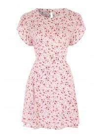 Womens Pale Pink Tulip Sleeve Tea Dress