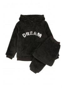 Older Girls Black Fleece Pyjama Set