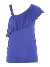 Womens Blue One Shoulder Frill Vest