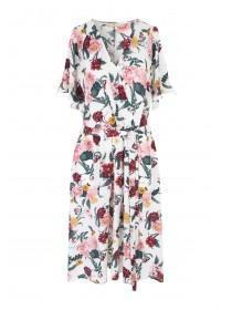 Womens Floral Wrap Midi Dress
