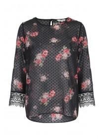 Womens Black Floral Print Mesh Blouse
