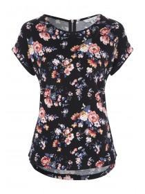 Womens Black Floral Zip Back T-Shirt