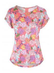 Womens Pink Printed Zip Back T-Shirt