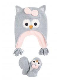 Younger Girls Grey Owl Hat and Gloves Set