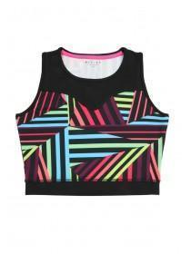 Older Girls Black Printed Mesh Active Crop Top