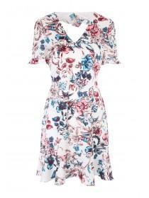 Womens Floral Ruffle Tea Dress