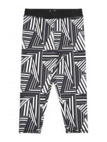 Older Girls Black & White Geo Print Cropped Leggings