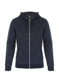 Mens Dark Blue Space Dye Zip Through Hooded Sweater