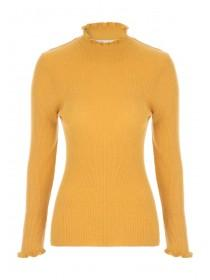 Womens Yellow Frill Neck Jumper