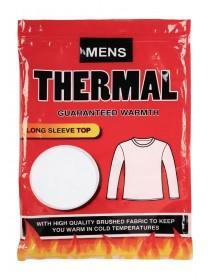 Mens White Thermal Long Sleeve Vest
