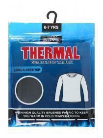 Boys Black Thermal Long Sleeve Top