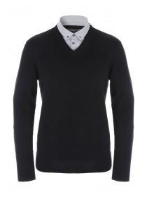 Mens Black Mock Shirt Jumper