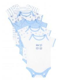 Baby Boys 5pk Blue Bodysuits