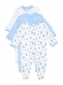 Baby Boys 3pk Blue Sleepsuits
