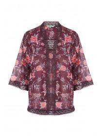 Womens Purple Georgette Lace Trim Kimono