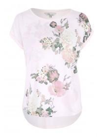 Womens Pink Floral Woven Front Printed T-Shirt