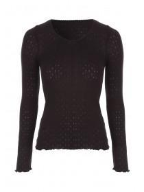 Womens Black Long Sleeve Thermal Vest