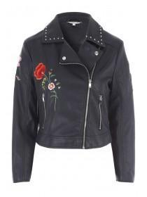 Womens Black Embroidered PU Jacket