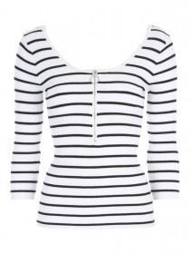 Jane Norman White Ribbed Zip Up Front Jumper