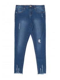 Older Girls Blue Ladder Hem Skinny Jeans