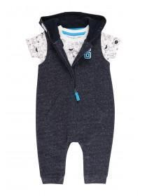 Baby Boys Dark Blue Monster Jumpsuit Set