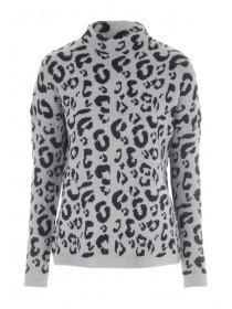 Womens Grey Leopard Turtle Neck Jumper