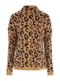 Womens Leopard Turtle Neck Jumper