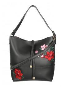 Womens Black Embroidered Bag