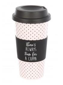 Womens White Spot Slogan Coffee Cup