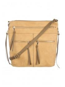 Womens Tan Zip Cross Body