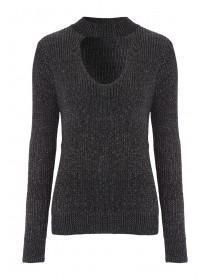 Womens Lurex Choker Neck Jumper