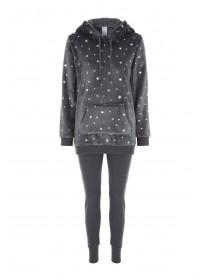 Womens Grey Star Fleece Lounge Set