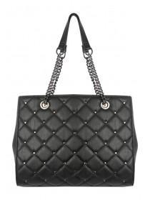Womens Black Quilted Stud Bag