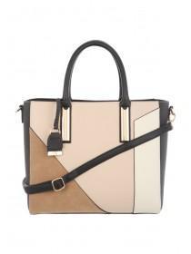 Womens Tan Patchwork Tote Bag
