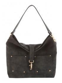 Womens Black Pocket Tab Shoulder Bag
