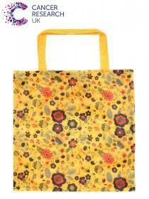 Womens Yellow Floral Cancer Research UK Bag For Life