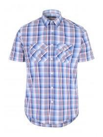 Mens Blue Check Short Sleeve Shirt