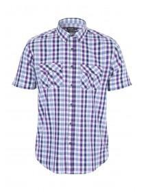 Mens Purple Check Short Sleeve Shirt