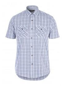 Mens White Check Short Sleeve Shirt
