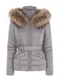 Jane Norman Mink Faux Fur Trim Puffa Coat