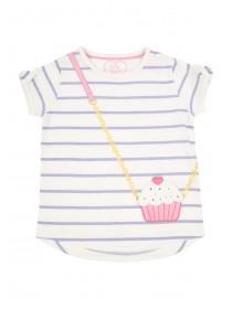 Younger Girls White Cupcake Bag T-Shirt