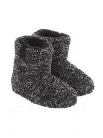 Boys Black Two Tone Fluffy Slippers