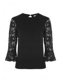 Womens Black Lace Sleeve Jumper