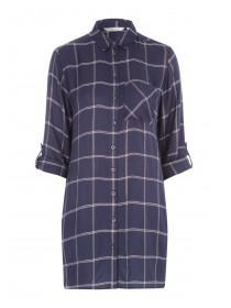 Womens Blue Check Longline Shirt