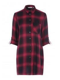 Womens Red Check Longline Shirt