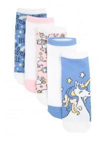 Womens 5PK Blue Design Trainer Socks