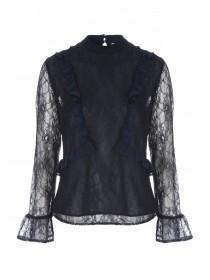 Womens Dark Blue Lace Ruffle Top