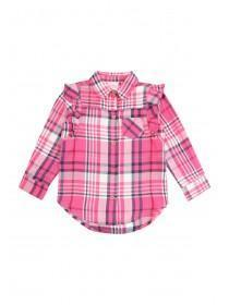 Younger Girls Pink Frilled Check Shirt